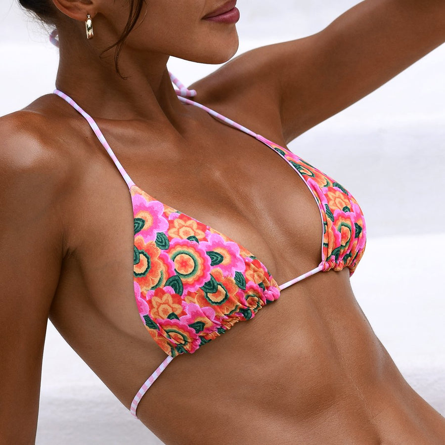 BLAIR MOD FLORAL/CANDY STRIPE REVERSIBLE BIKINI TOP - VDM