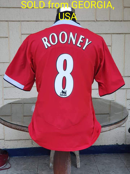 ENGLISH PREMIER MANCHESTER UNITED FC 2004-05 FA CUP RUNNERS-UP ROONEY 8 HOME JERSEY NIKE SHIRT XL  SOLD  VENDIDO