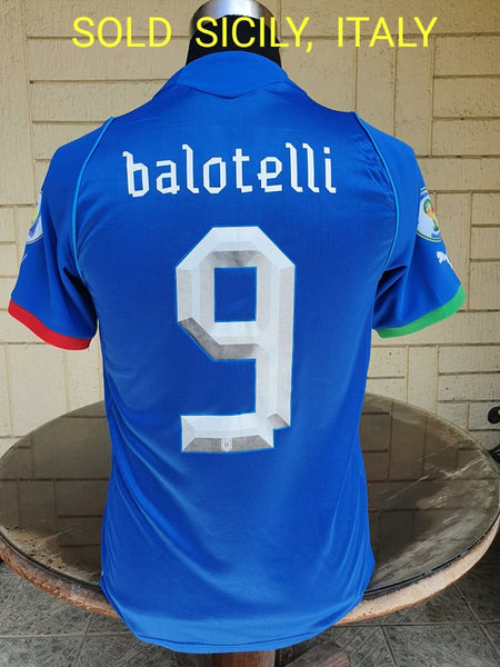 ITALY 2013 FIFA CONFEDERATIONS CUP 3RD PLACE MARIO BALOTELLI 9 HOME JERSEY MAGLIA CAMISETA SMALL / STYLE NUMBER: 740193  SOLD VENDIDO