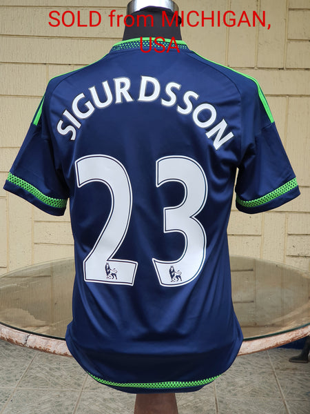 ENGLISH PREMIER SWANSEA FC 2015-2016 LEAGUE CUP 3RD PLACE ICELANDER Gylfi Sigurðsson 23 AWAY SHIRT  KNATTSPYRNUR MEDIUM  SOLD