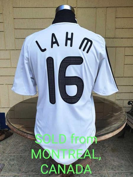 GERMANY 2008 UEFA EURO RUNNERS UP TITLE PHILIPP LAHM 16 HOME JERSEY ADIDAS SHIRT TRIKOT LARGE/ CODE # 613200  SOLD !!!