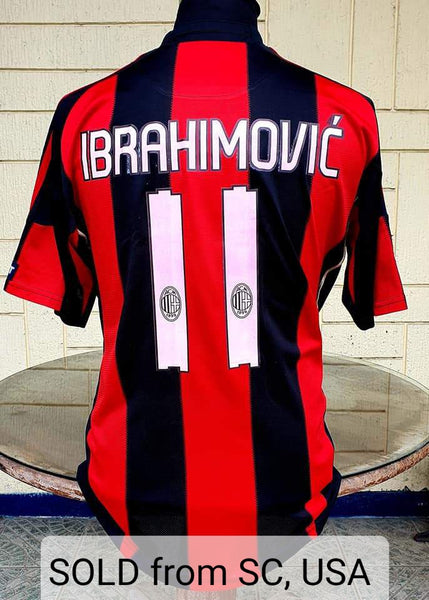 ITALIAN CALCIO AC MILAN 2010-2011 SERIE A- CHAMPION IBRAHIMOVIC 11  HOME ADIDAS SHIRT LARGE MAGLIA  SOLD!!!