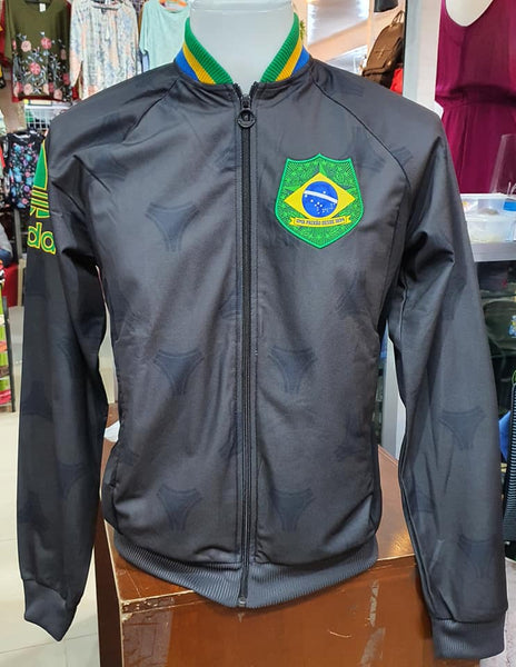 BRAZIL 2013 TT ADIDAS TRAINING BLACK RETRO ZIP JACKET FIREBIRD MEDIUM  # 3F77290