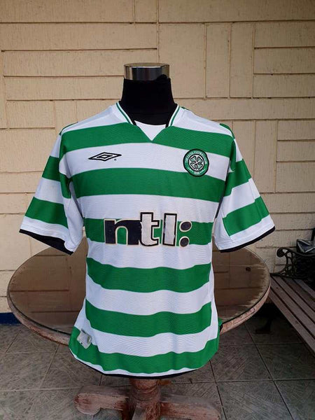 SCOTTISH LEAGUE CELTIC FC 2001 TREBLE SPFA -SFWA JERSEY UMBRO SHIRT LARGE - vintage soccer jersey