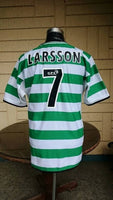 SCOTTISH LEAGUE CELTIC FC 2001 TREBLE SPFA -SFWA PLAYER OF THE YEAR LARSSON JERSEY UMBRO SHIRT - vintage soccer jersey