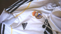 SPANISH LA LIGA REAL MADRID 2009-2010 HOME JERSEY ADIDAS SHIRT CAMISETA with SANTIAGO BERNABEU LOGO DESIGN  SOLD !!!! - vintage soccer jersey