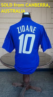 FRANCE 2002 WORLD CUP ZIDANE 10 JERSEY MAILLOT MEMORABILIA COLLECTIBLE ADIDAS SHIRT LARGE/ CODE # AKU001  SOLD !!! - vintage soccer jersey