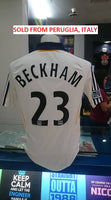 USA MLS LA GALAXY 2007-2008 CAPTAIN DAVID BECKHAM 23 JERSEY ADIDAS SHIRT MEMORABILIA  MEDIUM  SOLD !!! - vintage soccer jersey