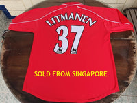 ENGLISH PREMIER LIVERPOOL FC 2000-2001 TREBLE LITMANEN 37 HOME JERSEY REEBOK HYDROMOVE SHIRT   SOLD !!!!