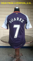 ENGLISH PREMIER LIVERPOOL FC 2012-2013 MEMORABILIA SUAREZ JERSEY SHIRT MEDIUM  SOLD !!! - vintage soccer jersey