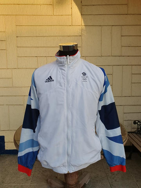 LONDON 2012 SUMMER OLYMPICS OFFICIAL ( GREAT BRITAIN ) GB TEAM TRAINING ADIDAS MEMORABILIA  JACKET MEDIUM - vintage soccer jersey