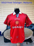ENGLISH PREMIER MANCHESTER UNITED FC 1996-97 PREMIER LEAGUE & CHARITY SHIELD CHAMPION  JERSEY UMBRO SHIRT MEDIUM  SOLD !!! - vintage soccer jersey