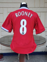 ENGLISH PREMIER MANCHESTER UNITED FC 2004-05 FA CUP RUNNERS-UP ROONEY 8 HOME JERSEY NIKE SHIRT XL