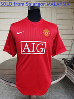 ENGLISH PREMIER MANCHESTER UNITED FC 2007-2008 TREBLE HOME JERSEY NIKE SHIRT M   SOLD !!! - vintage soccer jersey