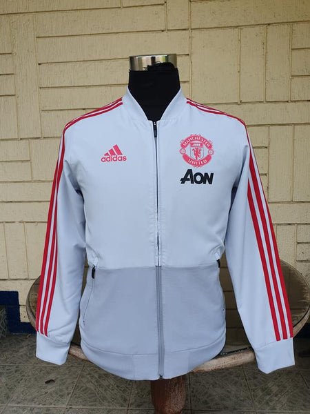 ENGLISH PREMIER MANCHESTER UNITED FC 2018 ADIDAS CLIMALITE PRESENTATION JACKET 13-14 YRS OLD / MODEL # DP6824 - vintage soccer jersey