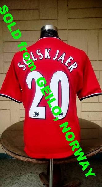 "ENGLISH PREMIER MANCHESTER UNITED FC 2000-01 FA LEAGUE CHAMPION OLE SOLSKJAER ""SUPER-SUB"" JERSEY UMBRO SHIRT  SOLD !!!! - vintage soccer jersey"