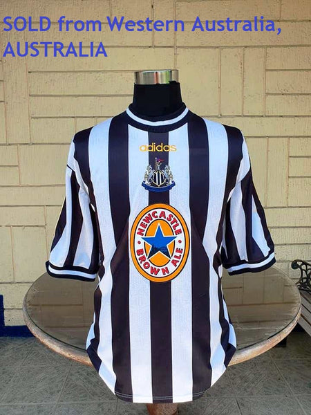 ENGLISH PREMIER NEWCASTLE UNITED FC 1997-1998 HOME VINTAGE JERSEY ADIDAS MEMORABILIA SHIRT XL  SOLD !!!! - vintage soccer jersey