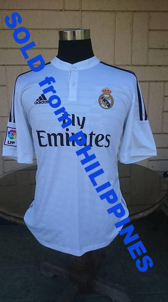 best sneakers bc8d8 b29f2 SPANISH LA LIGA REAL MADRID 2014-2015 UEFA SUPER CUP & FIFA CLUB WORLD CUP  CHAMPION JERSEY HOME SHIRT CAMISETA LARGE SOLD !!