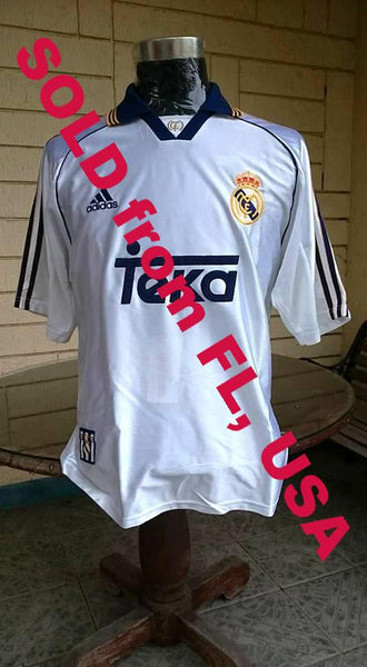 SPANISH LA LIGA REAL MADRID 1998-1999 INTERCONTINENTAL CHAMPION HOME JERSEY ADIDAS SHIRT CAMISETA  SOLD !!! - vintage soccer jersey