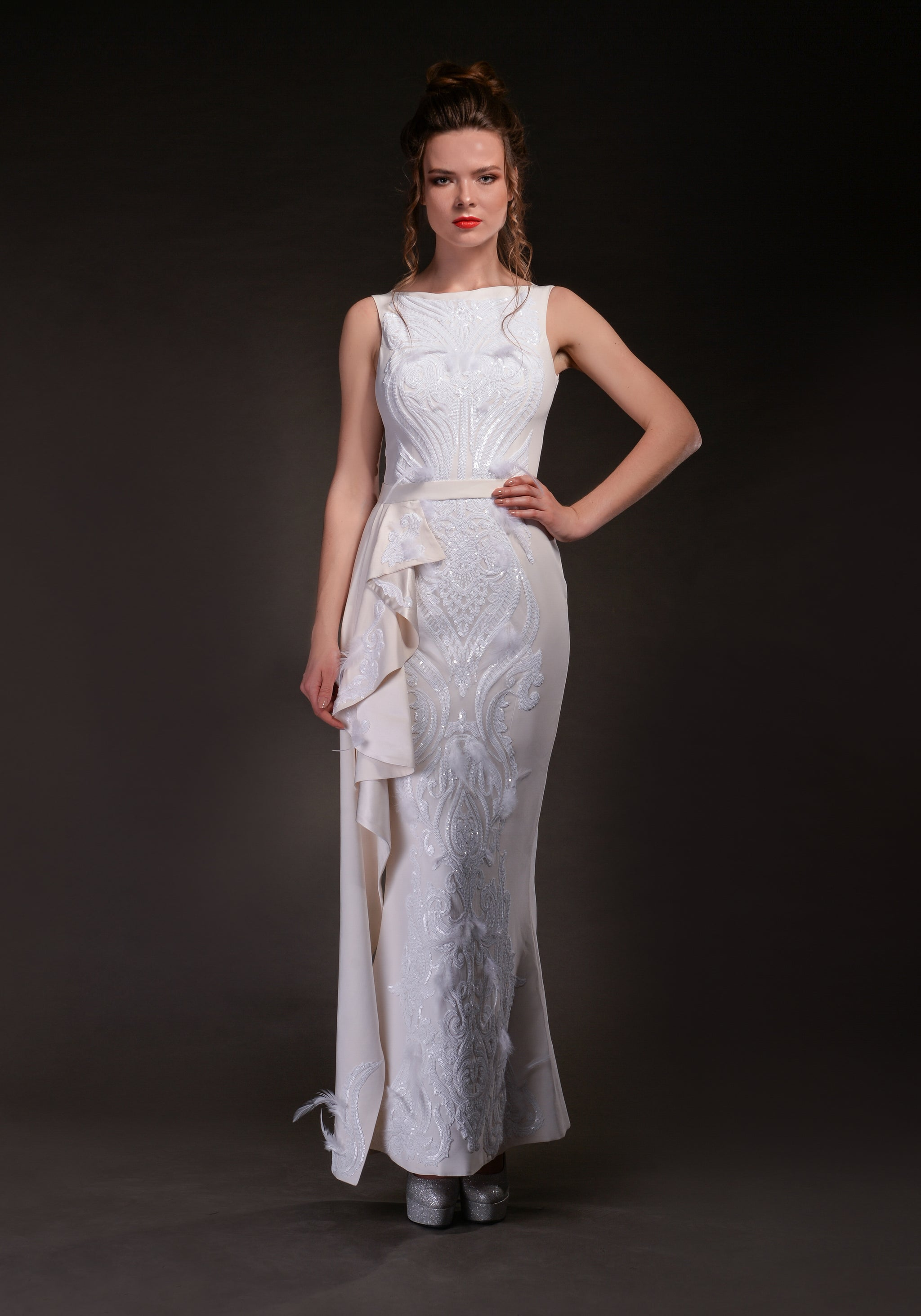 Off-White Silk Gown With Sequins Motifs - Alyona Malai