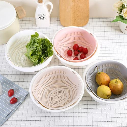 Chose-utile.fr Portable detachable double-layer hollow fruit and vegetable cleaning drain basket Washed rice noodles