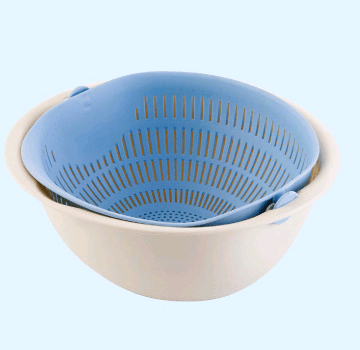 Chose-utile.fr vaisselle Blue Portable detachable double-layer hollow fruit and vegetable cleaning drain basket Washed rice noodles