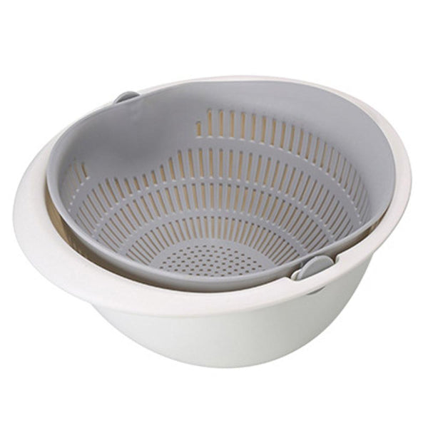 Chose-utile.fr vaisselle Gray Portable detachable double-layer hollow fruit and vegetable cleaning drain basket Washed rice noodles