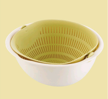 Chose-utile.fr vaisselle Green Portable detachable double-layer hollow fruit and vegetable cleaning drain basket Washed rice noodles