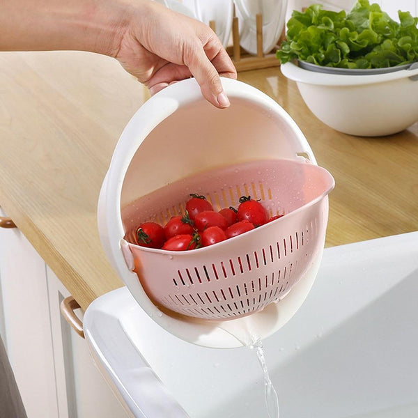 Chose-utile.fr vaisselle Portable detachable double-layer hollow fruit and vegetable cleaning drain basket Washed rice noodles