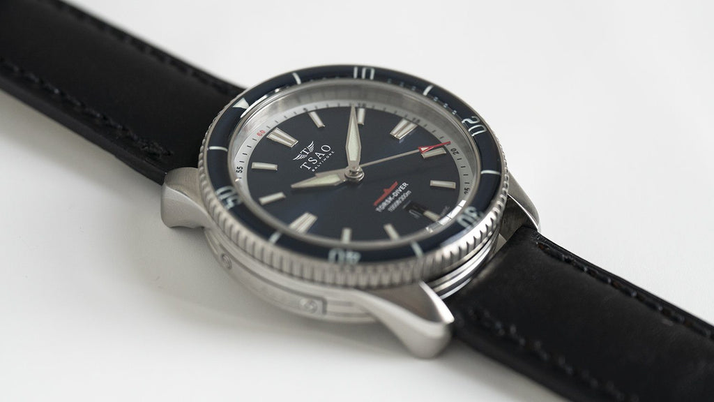 TORSK-DIVER Vintage Black Leather Strap (Long)
