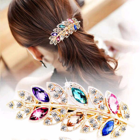 Crystal Rhinestone Leaf Barrette Hairpin
