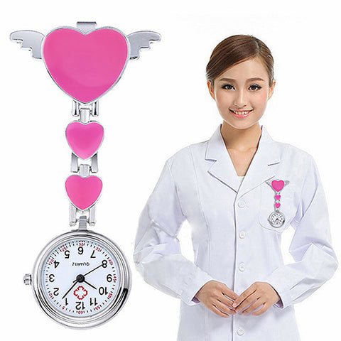 Outstanding Nurse Clip-On Fob Pocket Watch With Multiple Love Hearts In Support Of www.NursesHouse.org