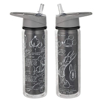 Vandor Disney Mickey Mouse Black & White 18 oz. Tritan Water Bottle