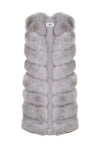 Faux Grey Long Gilet