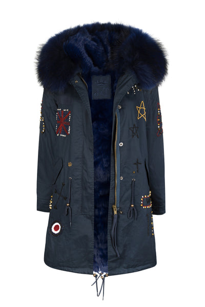 Faux Navy Darling Bead Parka