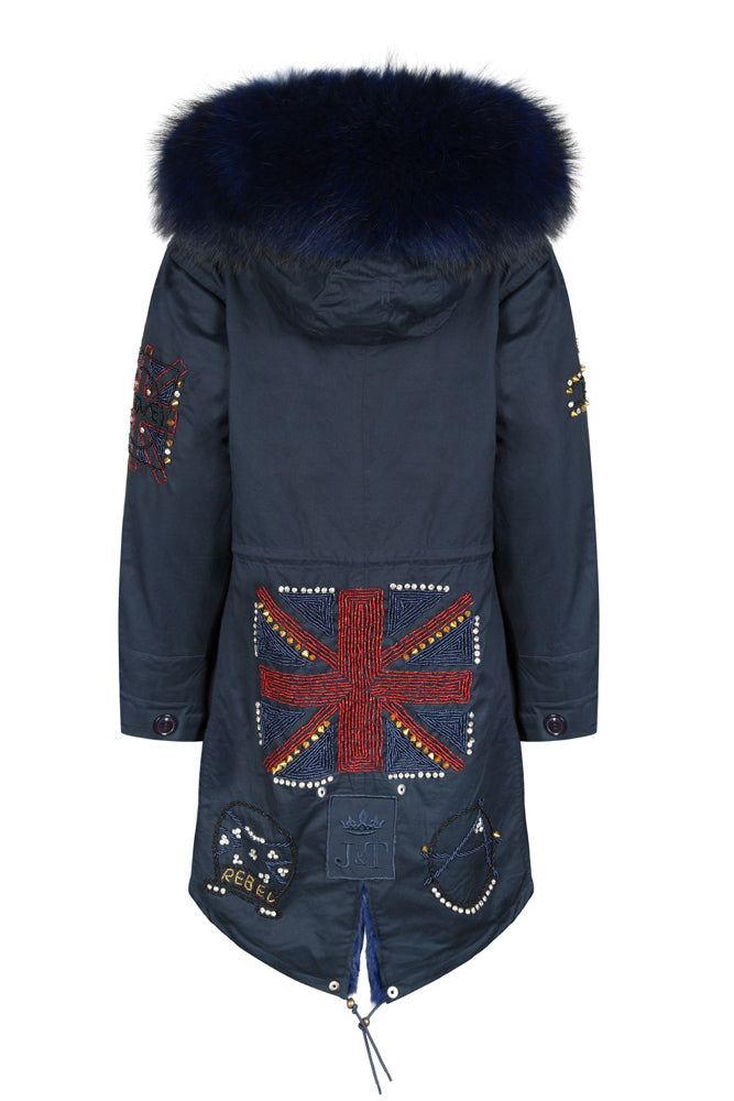 Navy Darling Bead Parka