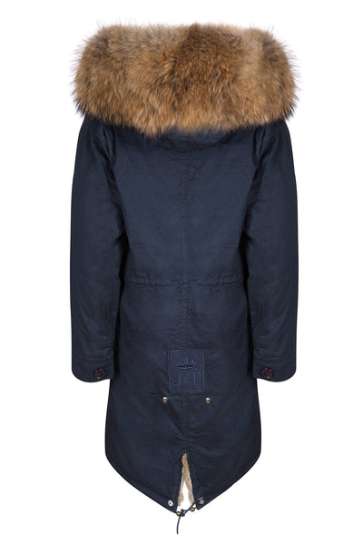 Navy on Natural Darling Parka (Back) Jane and Tash
