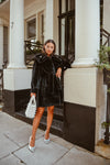 Bridal Embellished Faux Black Luxe Coat
