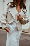 Bridal Off White Oversized Leather Jacket