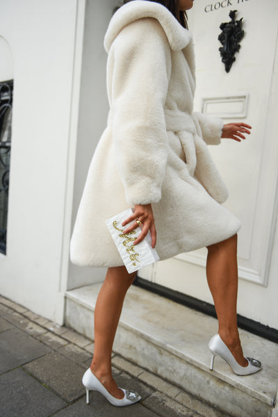 Bridal Embellished Faux White Luxe Coat