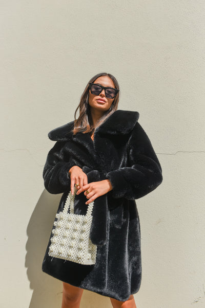 Black Luxe Faux Fur Coat