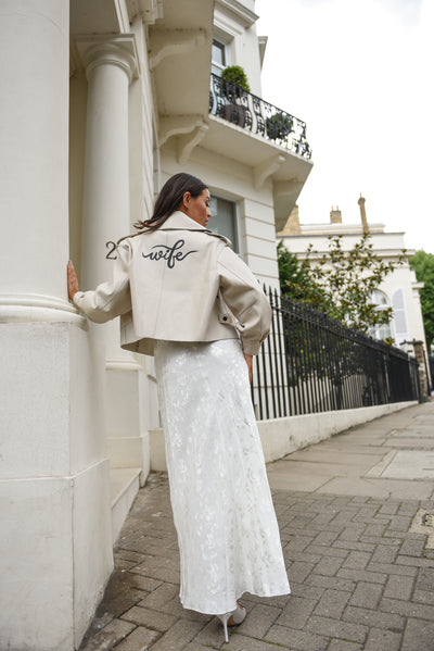 Bespoke Bridal Off White Oversized Leather Jacket
