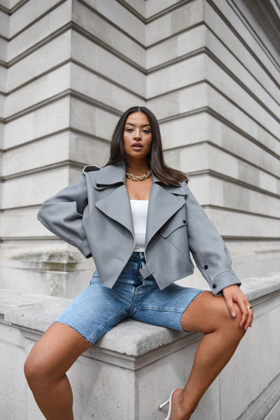Grey Oversized Leather Jacket