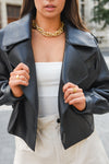 Black Oversized Leather Jacket