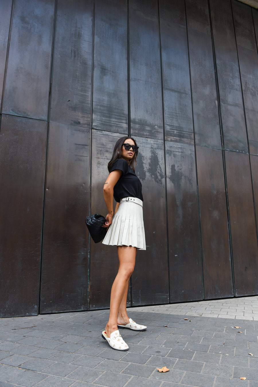Off White Pleated Leather Skirt