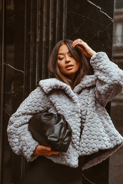 Exclusive Grey Heart Cropped Faux Fur Coat