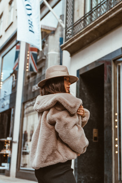 Taupe Cropped Faux Fur Coat