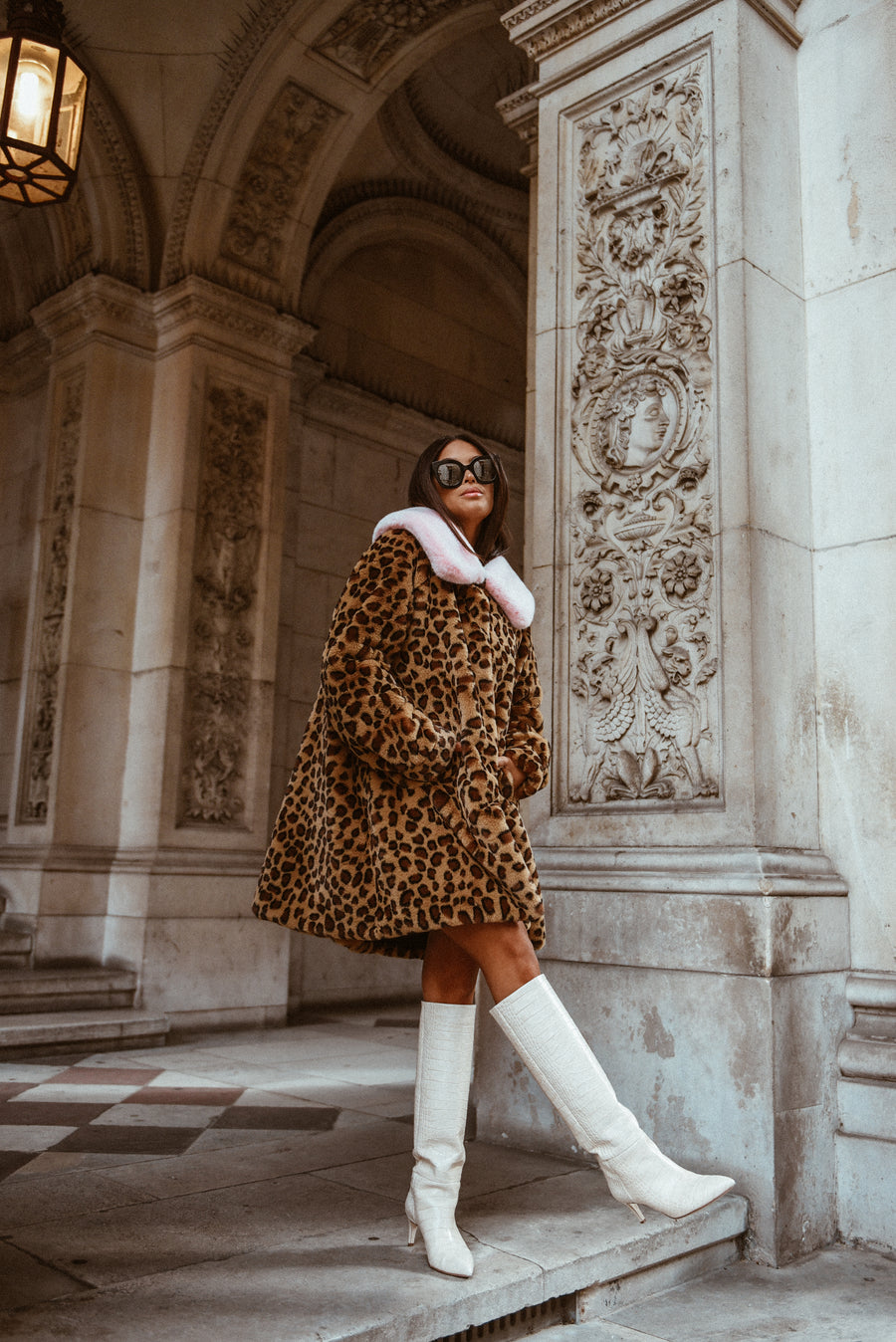 Leopard Faux Fur Coat with Pink Collar