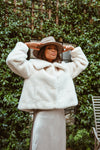 White Luxe Cropped Faux Fur Coat