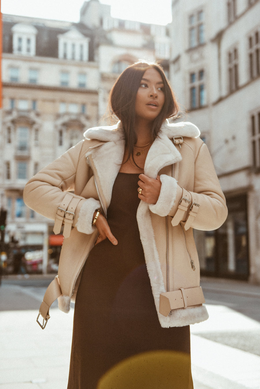 Cream Aviator Coat